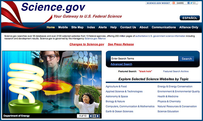 Science.gov home page