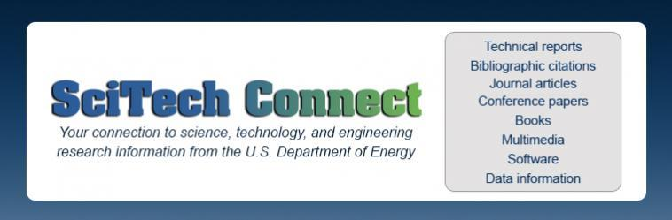 SciTech Connect Your connection to science,technology, and engineering research information from the U.S. Department of Energy