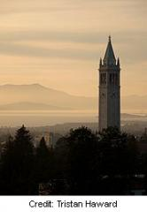 The Campanile and Mt. Tamalpais from Berkeley Memorial Stadium at sunset