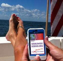"""An OSTIan accesses  WorldWideScience while enjoying the weekend on the Chesapea"