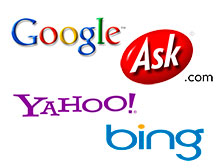 Google, Ask.com, Yahoo, bing search engines