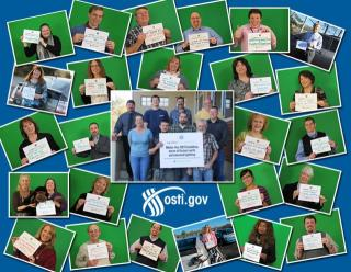 OSTI staff displaying the energy pledge