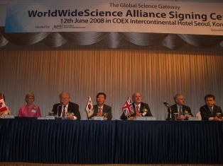 attendees at the WorldWideScience Alliance signing cermony