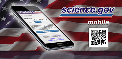 Science.gov mobile apps shown in a mobile phone with a U.S. flag in the background