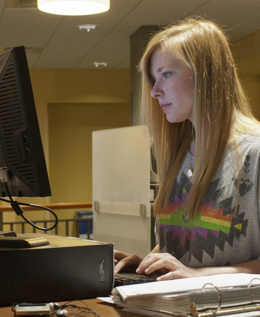Penn State senior Jamie Helmich utilizes Knowledge Commons at the Pattee Library