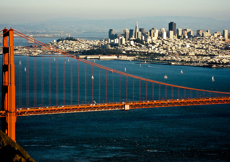 San Francisco, bordered by the Bay and Pacific Ocean is 35 miles north of campus