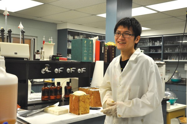Biological engineering graduate student Rui Xing researches soy-based foam