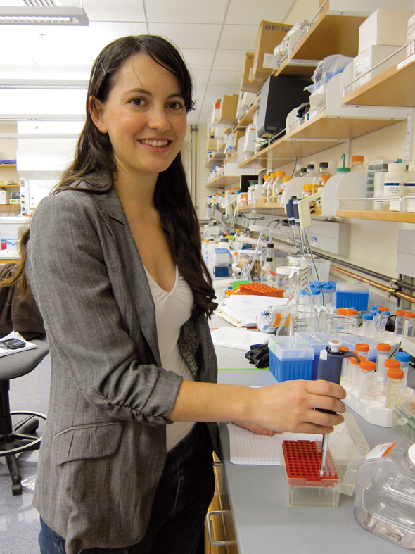 Ph.D. student Lori Glenwinkle in the lab