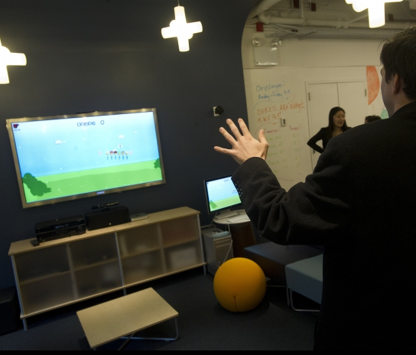 The Game Innovation Lab demos Scoop!, a movement-based middle school math game