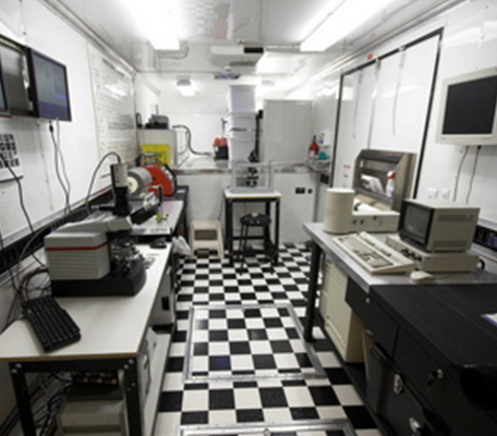 The interior of the NanoExpress mobile science theme park