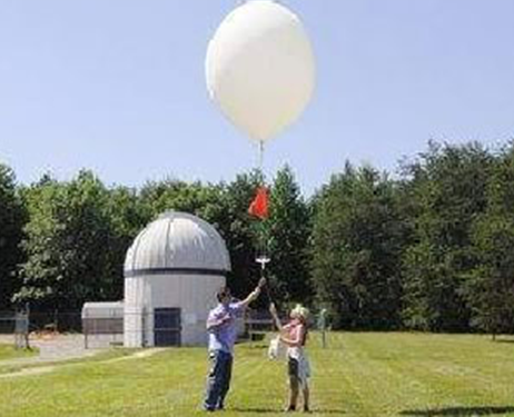 Graduate students release a balloon to measure air quality at Beltsville Center