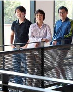Asst. Prof. Ziaolin Zheng with students Chi Hwan Lee and Dong Rip Kim