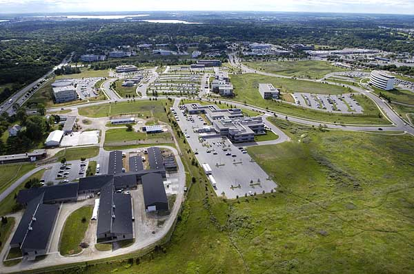 Aerial view of University Research Park during the summer