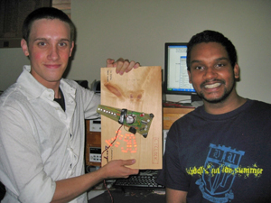 Undergraduate students show off their prototype