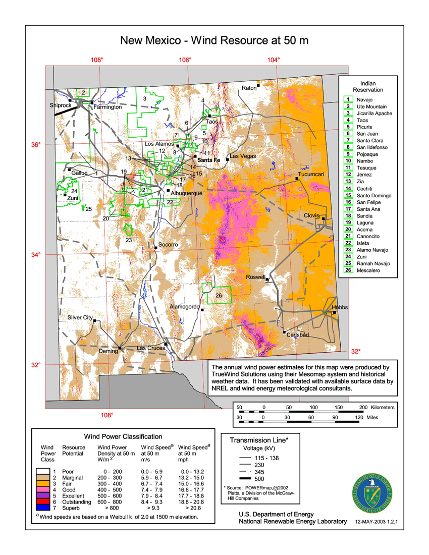 New Mexico Wind Resources Map