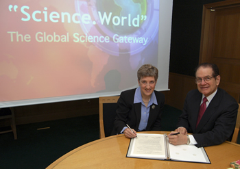 DOE Under Secretary for Science Dr. Raymond L. Orbach (right) and Lynne Brindley, Chief Executive, the British Library, signed a statement of intent to partner in the development of a global science gateway