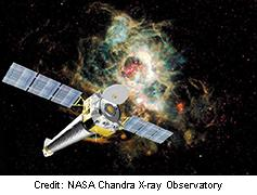 An illustration of the Chandra spacecraft, an orbiting X-ray telescope.