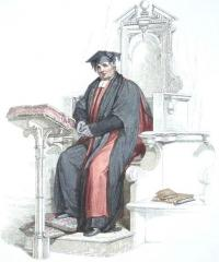 Aquatint of a Doctor in divinity at the University of Oxford, shown wearing conv