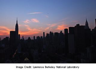 New York City skyline at nightfall, August 14