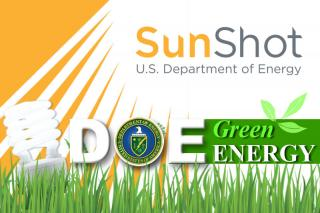 SunShot U.S. Department of Energy. DOE Green Energy. Illustration: CFL Lightbulb in grass under yellow rays of sunlight.