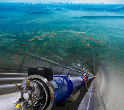 CERN's aerial view and the LHC tunnel