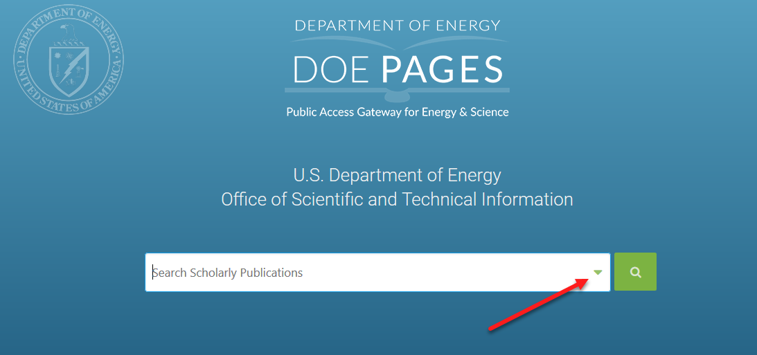 DOE PAGES Homepage Advanced Search Button