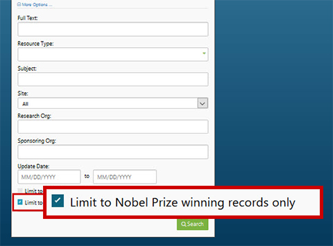 Figure 273509: Limit to Nobel Prize winning records only  (Refer to description text or link for full image explanation)
