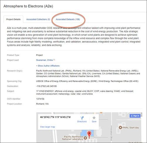 Department of Energy Data Explorer screenshot of associated datasets