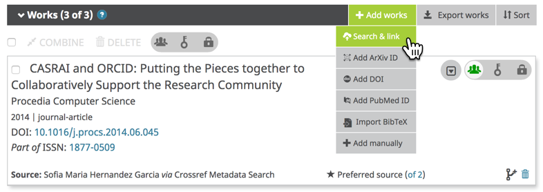 Figure 280018: Screenshot of an ORCID record's Works section