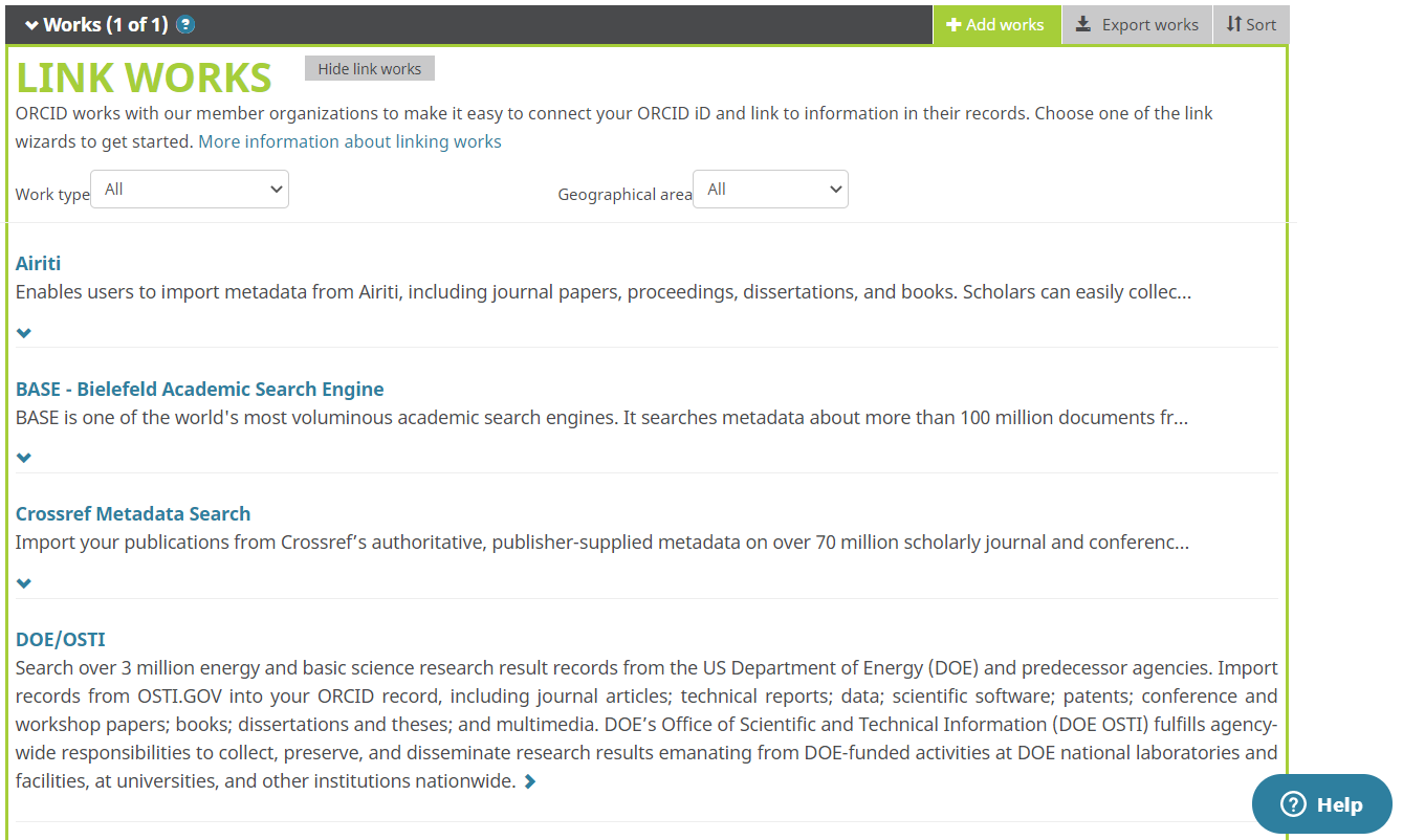 Figure 280022: Illustration showing the Works section of an ORCID record expanded to show the trusted organizations list.