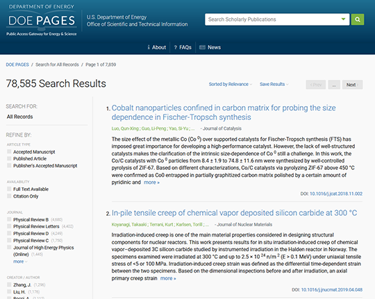 Figure 276019: Screenshot of PAGES search.