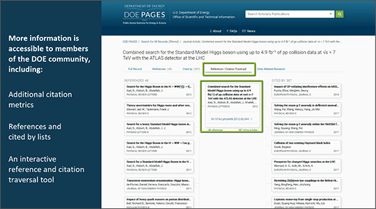 Figure 276212: DOE PAGES enhanced navigation and search capabilities (Refer to description text or link for full image explanation)
