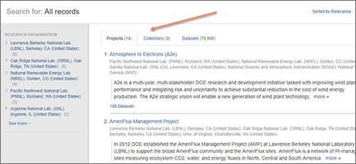 Department of Energy Data Explorer screenshot of search results