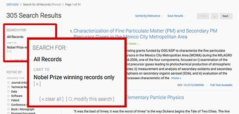 Limit to Nobel Prize winning records search results